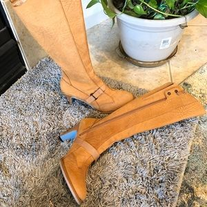 Diesel tan leather heeled boots